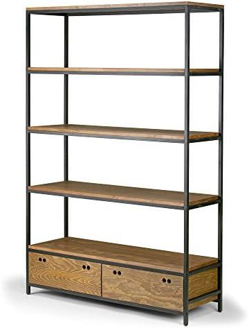 Deal of the week: Alta Brown Pine Wood Display Shelf Etagere Metal Frame Bookcase