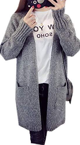 Aperto Lunghe Sciolto Tasche Comodo Eleganti Forcella Autunno Pullover Unique Invernali A Giubotto Fashion Outwear Ragazze Lunghi Casual Donna Grau Con Stlie Cappotto Giacca Maglia Maniche wqF68xz