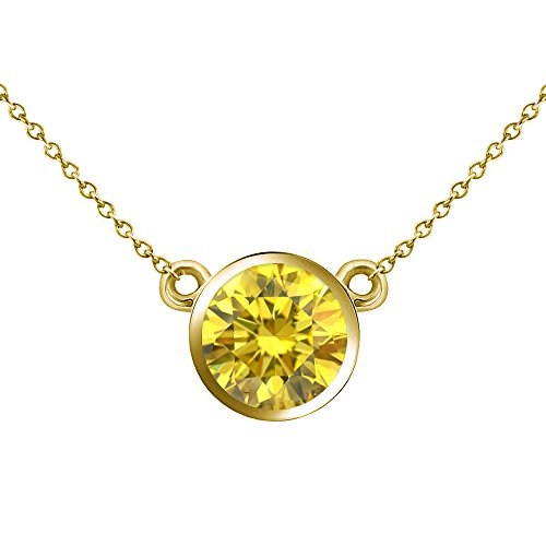 (Jascina 0.50 Carat Fancy Yellow Diamond by The Yard Bezel Solitaire Pendant Necklace + 18