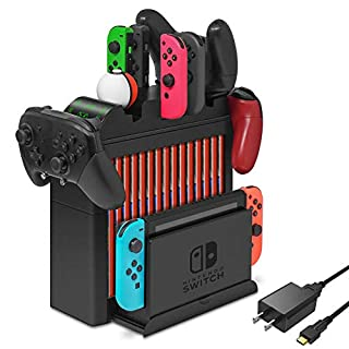 Charging Dock for Nintendo Switch Pro Controller, Joy-Con, Pokémon Balls, Multifunctional Station Stand Kit for Nintendo Switch, Storage for Game Cards and Switch Console with USB Type-C Cable and AC