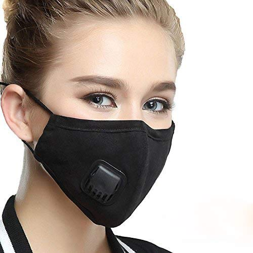 (Black Masks PM 2.5 Anti Pollution Mask with Valve Pynogeez Washable Dust Respirator Cotton Mouth Masks with Replaceable 5 Layer Filter for for Men Women(Mask + 2 Filters))