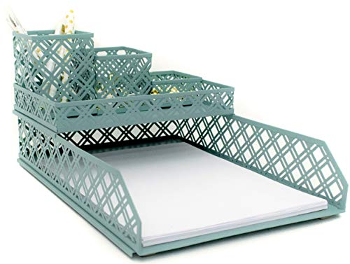 Blu Monaco Office Supplies Teal Blue Desk Organizers and Accessories-5 Piece Interlocking Cute Desk Organizer Set-Letter Tray-Pen Cup-3 Assorted Accessory Trays-Room Decor for Women and Teen - Set Tray Desk