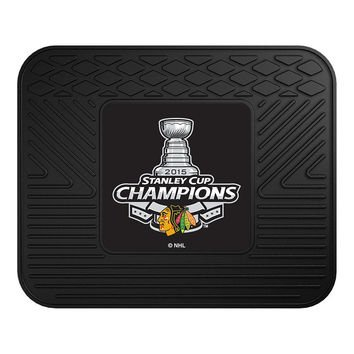 (NHL Chicago Blackhawks Heavy Duty Rear Seat 2015 Stanley Cup Champion Sports Fan Car Floor Mats, Team Color, One Size)