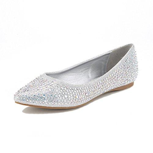 DREAM PAIRS Sole Classic Fancy Damen Casual Spitzschuh Ballett Comfort Soft Slip auf Wohnungen Schuhe Fancy-Silber