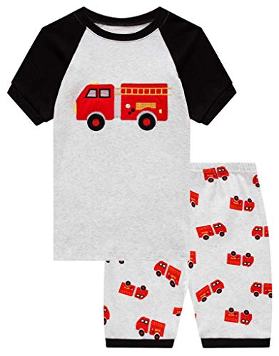 Family Feeling Little Boys Fire Truck Pajamas Short Sets 100% Cotton Toddler Kid ()