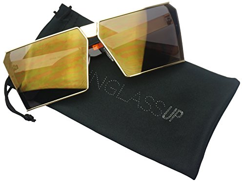 Oversized Thick Metal Square Women Sleek Retro Oceanic Bright Color Tinted Lens Sunglasses (Gold | Brown Mirror, - Kim Sunglasses K Style