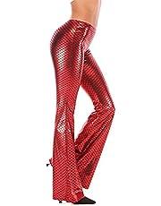 Meijunter Women's Stretchy Shiny Wide Leg Pants Mermaid Bell Bottoms Pants