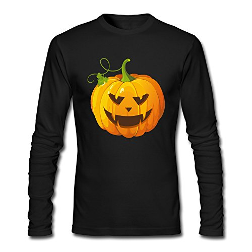 Men's Fashion Halloween Pumpkin Long Sleeve Tshit Black US Size XXL