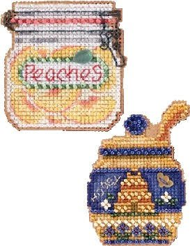 2 Item Bundle - Counted Glass Bead Kits with Charms: Honey Pot and Peaches - Mill Hill Charms