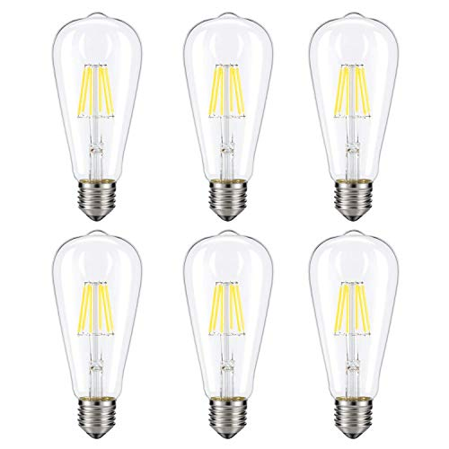 Scope 4 Light Pendant - Dimmable Vintage Edison LED Candelabra Light Bulb,6 Pack 4W 50W Incandescent Replacement Warm White 3000K, 400lm, E26 Base Lamp, ST64 Cone Shape,