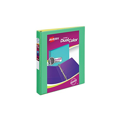 "Avery Dual Color Durable View Binder, 1"" Slant Rings, 250-Sheet Capacity, Green/Yellow (17217)"