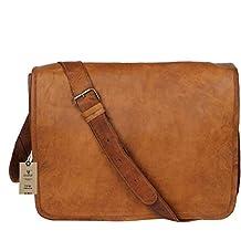 """Crafat 15"""" Mens Genuine Vintage Brown Leather Messenger Bag Shoulder Satchel School Laptop Bag Briefcase Bag"""