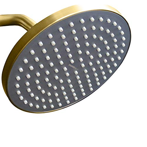 Shower Rainshower Gold - ShowerMaxx | Luxury Spa Series | 8 inch Round High Pressure Rainfall Shower Head |MAXX-imize Your Rainfall Experience with Easy-to-Remove Flow Restrictor Rain Showerhead | Polished Brass/Gold Finish