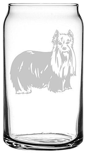 Yorkshire Terrier Art (Yorkshire Terrier (Yorkie) Dog Themed Etched All Purpose 16oz Libbey Can Glass)