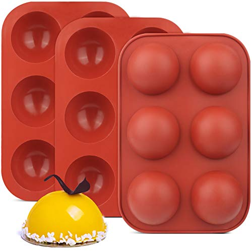 3 Pack 6 Holes Semi Sphere Chocolate Molds, BPA Free Silicone Baking Mold for Making Hot Chocolate Bombs, Cake, Jelly, Dome Mousse(Brick red).