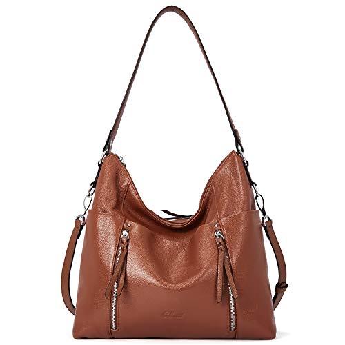 Women Soft Genuine Leather Hobo Handbags Top Handle Tote Bag Large Fashion Crossbody Shoulder Bag Dark Brown