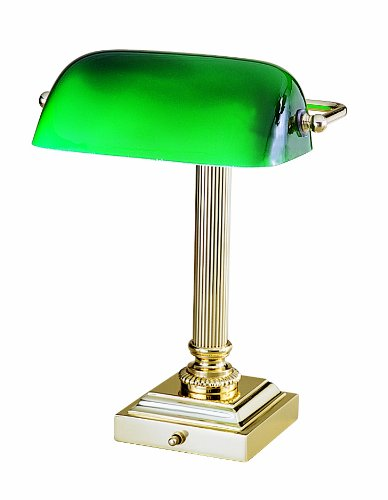 House of Troy DSK428-G61 Shelburne Collection 13-3/4-Inch Portable Desk Lamp, Polished Brass with Green Glass Shade