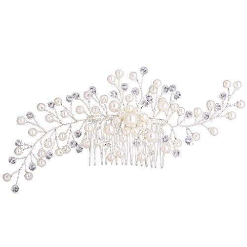 Stylebar Bridal Hair Comb Bendable Long Filigree Handmade Decorative Clear Crystal Bead Ivory Color Simulatd Pearl Leaf Vine Wedding Head Piece Accessories for Women Brides and Bridesmaids