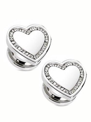 5/8 Inch Heart Shaped Silvertone Ear Plug With Clear Rhinestones -2pc by HB-101
