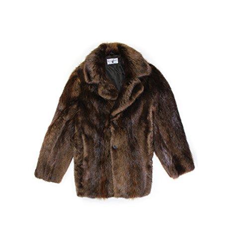 - 715488 New Mens Brown Natural Beaver Fur Mid Length Stroller Coat 46