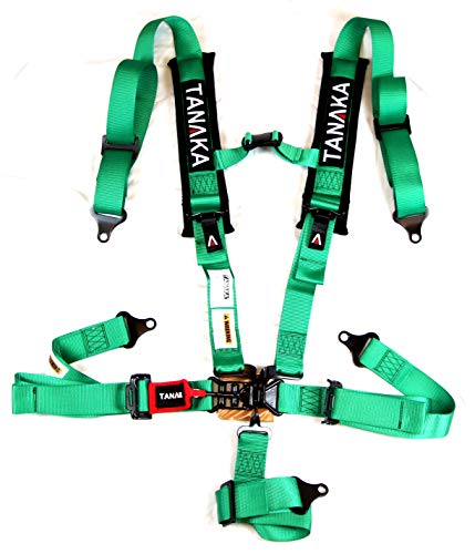 """Tanaka Black Series Latch and Link Safety Harness Set with Ultra Comfort Heavy Duty Shoulder Pads (for one seat) (Black) (2"""" Green)"""