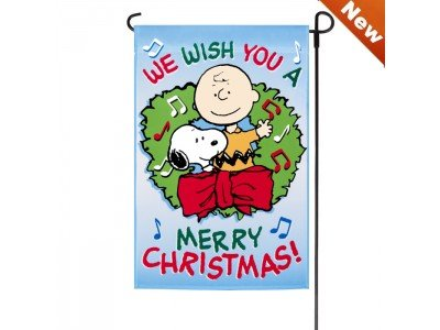 Perfect PEANUTS SNOOPY AND CHARLIE BROWN FLAG~WE WISH YOU A MERRY CHRISTMAS  ~12u0026quot;