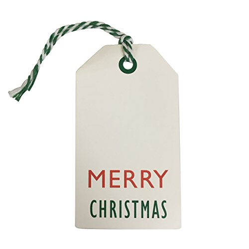 Kraft Tags for Gift Wrapping and Labeling (Xmas on White Kraft 25 PCS)