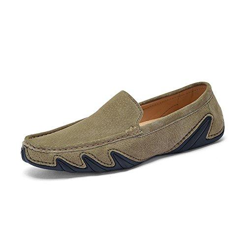 morbida gomma suola Color guida da morbida uomo pelle da Xiazhi 42 in Cachi shoes leggeri EU Dimensione in con Mocassini xqzZ7SwP
