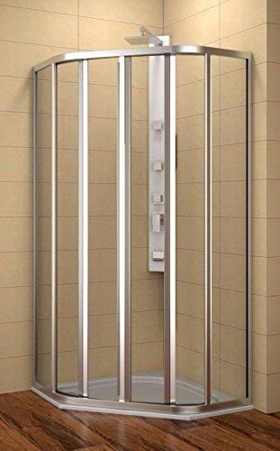 Duschkabine 90x90 cm, 5-Eck-Dusche 90x90x185 cm (LxBxH), Radius 55 cm, Dusche Fünfeck 90x90 cm, 4-teilig, ESG 4 mm, Schiebetüren