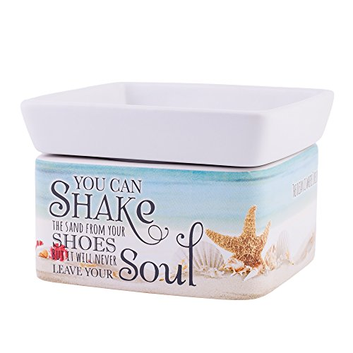 Shake Sand from Shoes White Stoneware Electric 2-in-1 Jar Candle and Wax Tart Oil Warmer ()