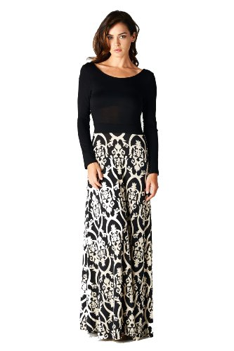 On Trend Seasons Change Long Sleeve Maxi Dress Black And White Damask Floor  Length (Small) At Amazon Womenu0027s Clothing Store: