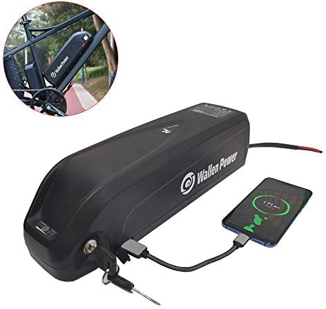 Wallenpower Ebike Battery 48V 16AH Hailong Lithium ion Battery Electric Bicycle Rechargeable Battery, with USB Port, Charger, for 1000W Motor, Black