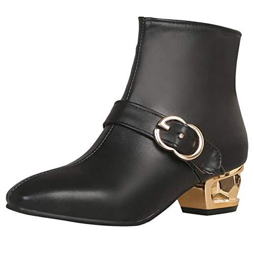 Coolcept Femmes Éclair Talon Soirée Mode Boots Bas Fermeture Noir qqrxd0