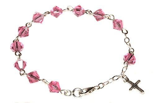 (Child Rosary Bracelet Made with Rose Pink Swarovski Crystal Elements (Communion & More))