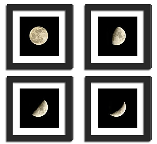 4Pcs 11x11 Real Glass Wood Frame Black , 2 Kind Matted Fit 8x8 4x4 inch Family Photo Pictures Image Desktop Stand or Wall Hang Moon Eclipse Combine Square Mat Family - Frame Square