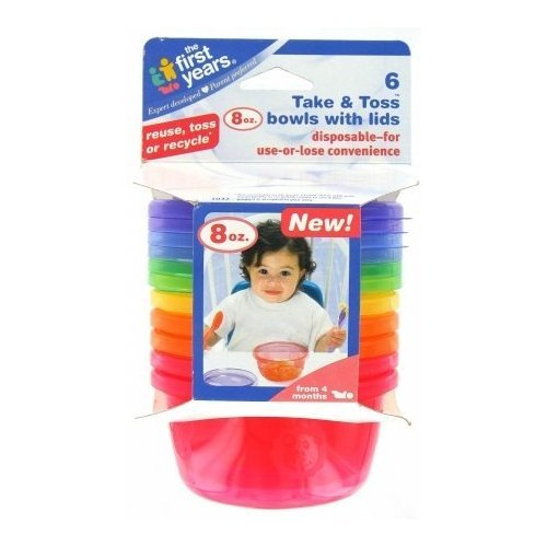 First Years Y1032v Take & Toss Bowls with Lids, 8 oz, Pack of 6