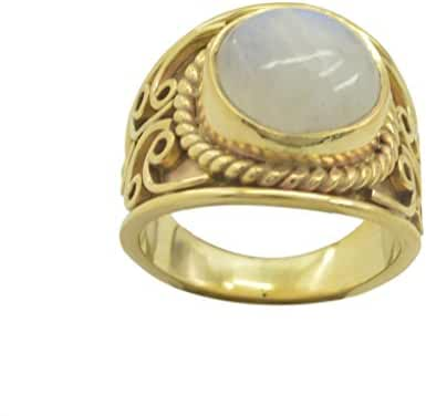 tempting Rainbow Moonstone Gold Plated White Ring wholesale L-1.5 US