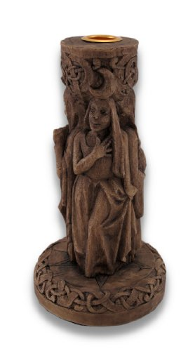 Things2Die4 Pagan Triple Goddess Taper Candle Holder Wood Finish