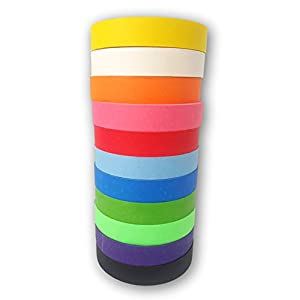 Colored Masking Painters Craft Tape Jumbo 11 Pack - Extra Long Premium Rolls - 1 inch Wide, 60 Yards Long, Bright Colors. Great for Arts & Craft Projects, Fun for Kids & Adults - Washi Tape