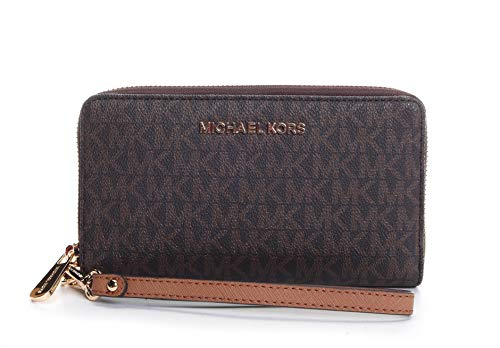Michael Kors Jet Set Travel Large Flat Multifunction Phone Case Wristlet (Brown 2018)