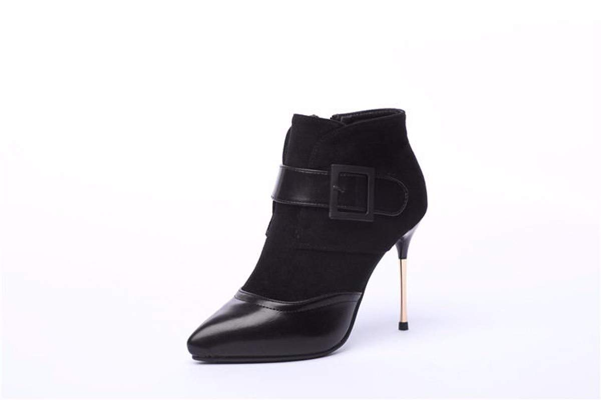 HBDLH Damenschuhe Winter Mode Heel 10Cm Metall Ferse Ferse High - Heel Gut Schuhe Gürtel Wildleder Heften Sagte Martin Stiefel