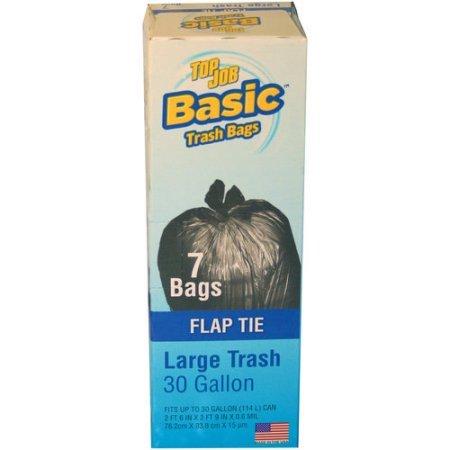Top Job Basic Flap Tie Large Trash Bags, 30 gal, 7 (Basics Flap)