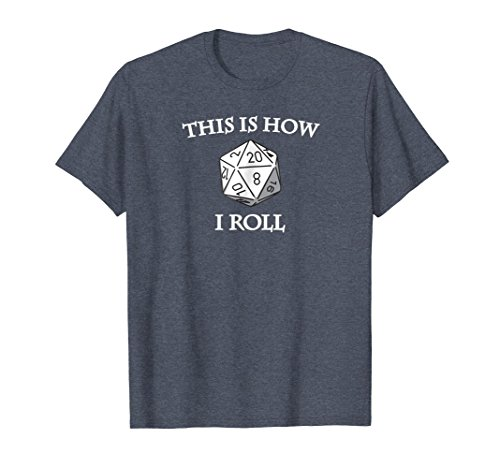 - Mens D20 This Is How I Roll RPG Dungeons Game Tee Shirt XL Heather Blue