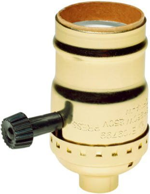 Brass Light Socket - Plated - 3-Terminal - 2 Circuit - Turn Knob - Medium Base Socket - 1/8 IPS - PLT (Two Circuit System)