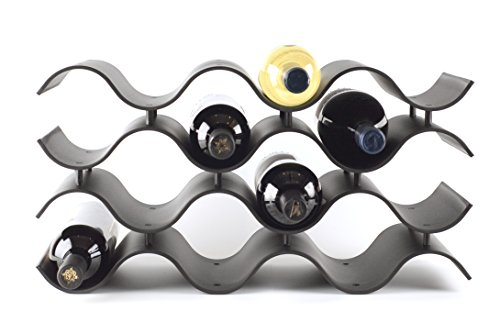 Birando Wave Wine Rack (12Bottle, Black) (12 Bottle Wine Rack Black)