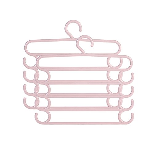 MGMDIAN Multi-Function Thick Five-Layer Magic Pants Rack/Plastic Pants Rack Save Space Wardrobe Storage [2 Pack] Household Standard Hanger (Color : Light Pink) ()