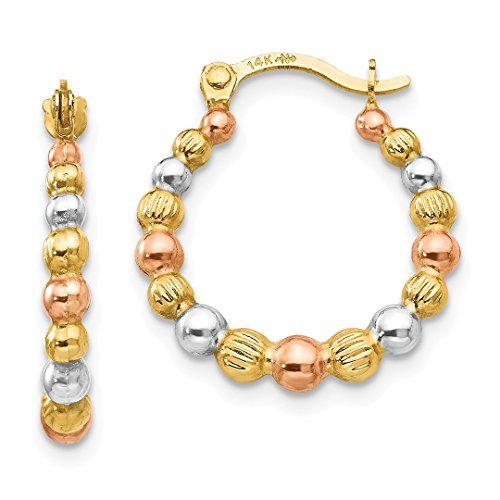 Beaded Jewelry Set Yellow (ICE CARATS 14kt Yellow Gold Tri Color Beaded Hoop Earrings Ear Hoops Set Fine Jewelry Ideal Gifts For Women Gift Set From Heart)