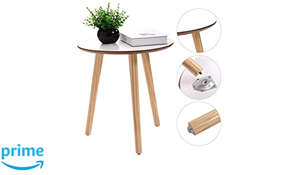 Amazon Com Modern Round Coffee End Tea Table Living Room Wood