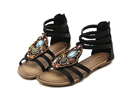 Damen Bohemia Strand Sandale Casual Peep-Toe Flache Sandalen Sommerschuhe Knöchelriemchen Sandalen Schwarz