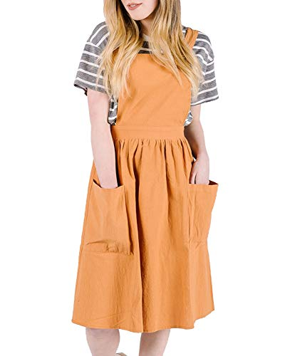 Ofenbuy Womens Casual Sleeveless Strap A Line Overall Pinafore Dress with Pockets (Large, Orange) (Knee Bib Length)